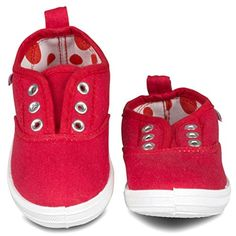 G105RED6 Girls Canvas Sneakers  Red Slip On Casual Shoes Eyelet Details Size 6 * Check this awesome product by going to the link at the image. (This is an affiliate link) #BabyGirlShoes