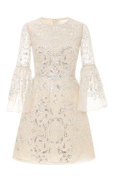 Sequin And Threadwork Organza Cocktail Dress by Marchesa for Preorder on Moda Operandi