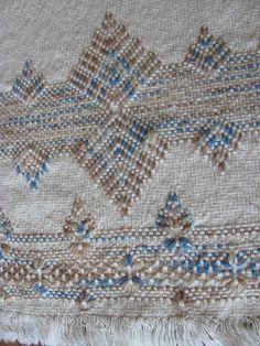 Sentir la tranquillité cool avec ce tissage complexe. Bleu Alpine est un motif de tisser suédois traditionnel fabriqué avec 100 % coton beige moine du tissu. Le fil acrylique panaché est dans les tons de bleu et beige. Les bords sont sécurisés par surjet en fil bleu. Il y a des Fil Bleu, Swedish Weaving Patterns, Diy And Crafts, Arts And Crafts, Monks Cloth, Pattern Making, Embroidery Patterns, Short Fringe, Needlework