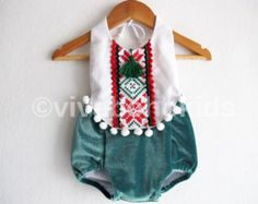 Christmas Baby Girl Romper/Boho Chic Romper/ First christmas/ Baby Clothes/ Photo Shoot/ Size: 6-12, 12-18,18-24 month, 2T-6