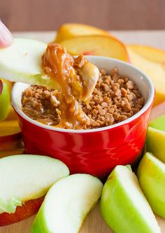 Caramel Apple Dip - with cream cheese and skor bits, just dip, scoop and bite.