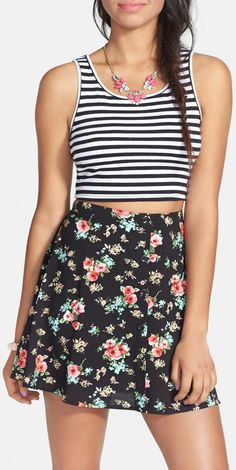 Lily White Floral Print Button Front Skirt