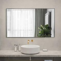 Modern Aluminum Alloy Thin Framed Full Length Floor Mirror - On Sale - Overstock - 30393628 - 71x31x1 - Gold White Bathroom Mirror, Bathroom Mirror Makeover, Gray And White Bathroom, Full Length Floor Mirror, Mirror Shapes, Wall Mounted Mirror, Black Decor, Bath Remodel, Minimalist Decor
