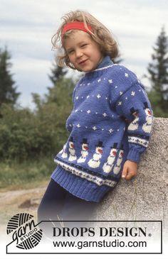 Nordisk DROPS Bluse i Karisma med snemænd Gratis opskrifter fra DROPS Design. Winter Knitting Patterns, Knitting For Kids, Free Knitting, Baby Knitting, Crochet Patterns, Crochet Toddler, Crochet Girls, Knit Crochet, Drops Baby