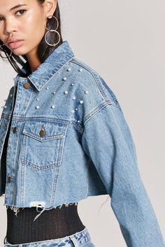 d9e551cb8d9 Forever 21 Love21 Distressed Cropped Denim Jacket