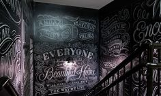 Welcome to Sweet Home Style • typethatilike: Andaz Hotel 5th Avenue | New York... white chalk on blackboarded walls