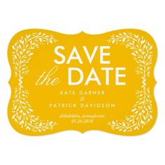 Blissful Laurel EDITABLE COLOR Save The Date Card