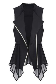 abaday Lapel Asymmetric Pleated Zipped Slim Black Vest - Fashion Clothing, Latest Street Fashion At Abaday.com