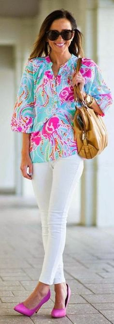 Lilly Pulitzer Spa Blue Jellies Be Jammin Silk Popover by Sequins & Things