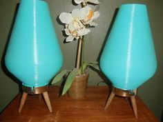 PAIR of Atomic Aqua Vintage Mid Century Modern Retro by LampRoots, $169.95
