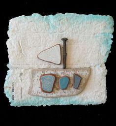 Y la nave va, Fernanda Menendez. Handmade paper and Eolic's traces.