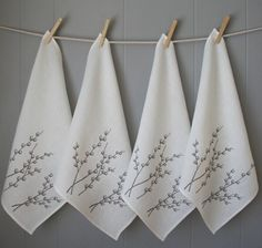 Items similar to Set of Four Organic Linen Pussy Willow Napkins on Etsy Personalized Housewarming Gifts, Hostess Gifts, Linen Napkins, Cloth Napkins, Folding Napkins, Napkins Set, Linen Spray, Memorial Day, Printed Linen