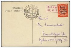 Germany, German Empire, Airmail 30. 08. 1923, first Postal service sail flight 1923, franked by 5 Mk. (Michel. No. Ia), flight broken off, with post office postmark from Gersfeld. Price Estimate (8/2016): 20 EUR. Unsold.