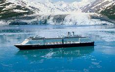 Download wallpapers Eurodam, cruise ships, sea, glacier, Holland America Line