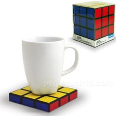Rubik's Cube Coasters. They look fantastic. Perfect for a retro look or a creative's office.