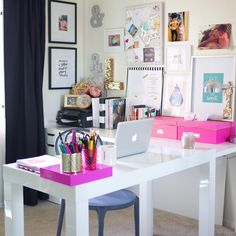"""""""Today I'm sharing a tour of my ChickCave, aka my pink-powered home office, on the blog. Link to website in bio! """""""