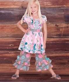 Look at this #zulilyfind! Pink Allegria Kassi Tunic & Ruffle Pants - Infant, Toddler & Girls by Jelly the Pug #zulilyfinds