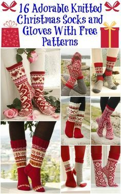Knitting Patterns Christmas 16 Adorable Knitted Christmas Socks and Gloves With Free Patterns Crochet Socks, Knit Mittens, Knitting Socks, Hand Knitting, Knit Crochet, Knitting Patterns, Knitting Needles, Knit Socks, Knitted Slippers
