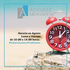 Horario en Agosto: Lunes a Viernes de 10:00 a 14:00 horas. Recuerde que puede realizar sus consultas jurídicas y cita previa en http://alvarezabogadostenerife.com/?p=5430