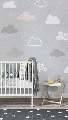 baby wallpaper Effortlessly chic, this nursery space balances neutral greys with lively pops of golden yellow. Illustrated clouds drift along in this beautiful wallpaper design. Its a timeless pattern that will look just as stylish for years to come. Baby Room Design, Nursery Design, Baby Room Decor, Bedroom Decor, Baby Wallpaper, Pattern Wallpaper, Wallpaper Ideas, Painted Wallpaper, Wallpaper Designs