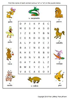 Free printable puzzle worksheet on animals in spanish animales fun handout homework for kids . Free printable puzzle worksheet on animals in spanish animales Learning Spanish For Kids, Spanish Lessons For Kids, Spanish Basics, How To Teach Kids, Spanish Language Learning, Teaching Spanish, Learn Spanish, Spanish Vocabulary, Color Worksheets For Preschool