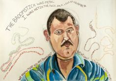 David Heymen expresses his own artistic take when interviewing Iraqi detainees. The heinous experience these men faced can be expressed in the faces and words each painting portrays.  - Seen at the David Winton Bell Gallery, Brown University