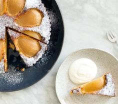 Frangipane tarts are a wonderful way to use seasonal fruits. Use apples, peeled feijoa or try poached quince in place of the pears. Easter Recipes, New Recipes, Easter Food, Farro Recipes, Frangipane Tart, Tart Shells, Fruit In Season, Creme Fraiche, A Food