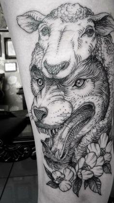 Tattoos Ink, Sheep And Wolf Tattoo, Sheep Tattoo, Wolf In Sheeps Clothing Tattoo, Tattoo Ink, Sheep Dog Tattoo, Lamb Tattoo. '