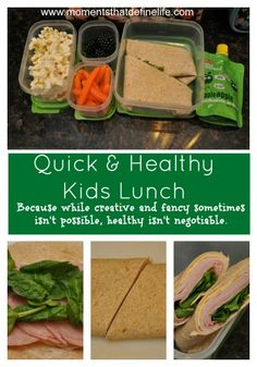 Quick & Healthy Kids Lunch on the Go! Because while creative and fancy sometimes isn't possible, healthy isn't negotiable! Healthy Lunches For Kids, Lunch Snacks, Healthy Snacks, Healthy Recipes, Whats For Lunch, Lunch To Go, Lunch Box, Healthy Cooking, Healthy Eating