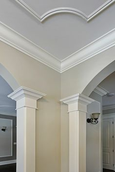 Awesome Cool Tips: False Ceiling Design Detail curved false ceiling living rooms.Plain False Ceiling Floors false ceiling for hall living rooms.False Ceiling Design For Restaurant. Interior Trim, Home Interior, Interior Design, Interior Columns, Home Renovation, Home Remodeling, Ceiling Trim, Ceiling Rose, Ceiling Detail