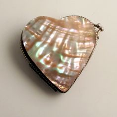 Victorian Heart Purse Mother of Pearl Silk Lined