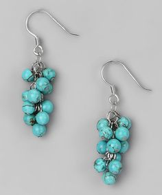 Turquoise & Sterling Silver Beaded Earrings by Athra on #zulily today!