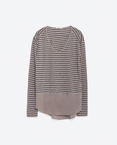 Image 8 of MIXED FABRIC T-SHIRT from Zara