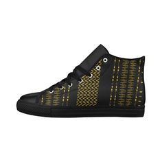 $56-Black and Gold Tribal Pattern High Top Men's Leather Shoe from #Saytoons