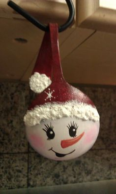 My snowman Spoon ornament I made!