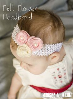 Felt Flower Headband with printable template to trace and cut your felt.