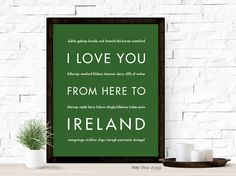 I Love You From Here To IRELAND travel art