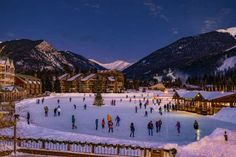 ICE SKATE AT A HUGE OUTDOOR RINK IN KEYSTONE, COLORADO It's hard to believe Keystone Resort's Lakeside Village ice skating rink isn't something straight from a picture book. This dreamy five-acre frozen lake — aka the largest Zamboni-maintained outdoor rink in North America — offers free skating, as well as twinkling lights and music around the holidays.