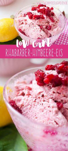 Fruchtig erfrischendes Low Carb Rhabarber-Himbeere-Joghurt-Eis www.lowcarbkoestlichkeiten.de