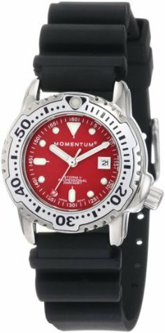 Momentum Women's 1M-DV83R1B Storm II Red Dial Hyper Natural Rubber Watch Momentum. Save 24 Off!. $124.95. Water resistant up to 660 feet (200m). Date feature, super luminous hands and indexes, unidirectional rotating bezel. Quartz movement. Black rubber strap with stainless steel buckle closure. Water-resistant to 660 feet (200 M)