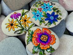 rock garden set / painted rocks / painted stones / rock art / wildflowers / sea stones / Cape Cod / Sandi Pike Foundas by LoveFromCapeCod on Etsy