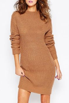 Long Sleeve Brown Sweater Dress See more @ http://topreviews.momsmags.net