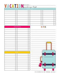 Vacation planner printable free to download and use in your favorite planner or binder style planning system.