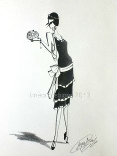 Fashion Illustration 1920s Flapper Art Black and White Decor Original Pencil Drawing.