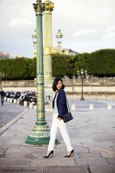 Elegant look with navy blue blazer, striped blouse and white pants