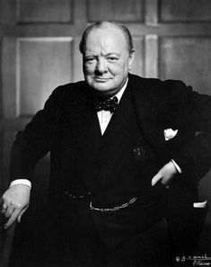 "Sir Winston Churchill...much like the pose taken earlier which is better known and is called ""the roaring lion"" but this one has a smile...photography by Yousuf KARSH [1941]"