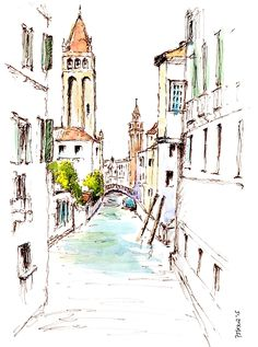A pen and wash sketch of a peaceful side canal in Venice. Pen And Wash, Framed Prints, Canvas Prints, London City, Painting & Drawing, Venice, I Am Awesome, My Arts, Explore