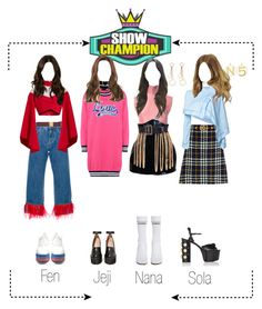 """""""MILA Performing """"BE MINE"""" at Show Champion"""" by mila-offical ❤ liked on Polyvore featuring Gucci, J.W. Anderson, Dolce&Gabbana, Balmain, JUAN VIDAL, Chanel, Jeffrey Campbell, Vetements, STELLA McCARTNEY and Love Moschino"""