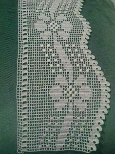 This post was discovered by HU Crochet Boarders, Crochet Edging Patterns, Filet Crochet Charts, Crochet Lace Edging, Crochet Designs, Crochet Doilies, Crochet Stitches, Crochet Home, Knit Crochet