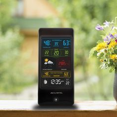 The #AcuRite Pro Color Weather Station with Wind Speed 01605 |  features indoor / outdoor temp & humidity, wind speed, wind chill, dew point, heat index, pressure, moon phase, Intelli-Time clock and calendar. Wind info includes current wind speed, average wind speed and peak wind speed readings. Intelli-Time clock automatically adjusts for Daylight Saving Time (DST). Humidity level indicator easily conveys a low or high indoor humidity level.  Get it on AcuRite.com: http://bit.ly17glznS